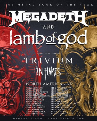 MEGADETH, LAMB OF GOD, TRIVIUM + IN FLAMES: Rescheduled Dates For 'The Metal Tour Of The Year' Announced