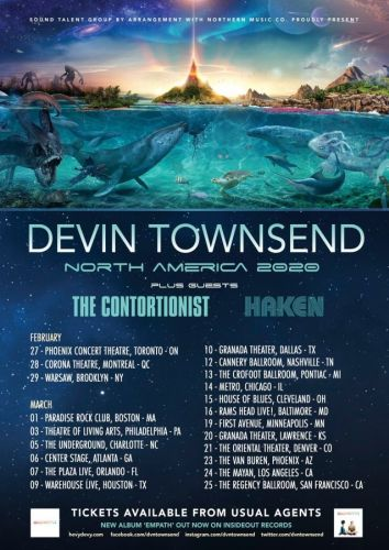 DEVIN TOWNSEND Announces Winter 2020 North American Tour With THE CONTORTIONIST And HAKEN
