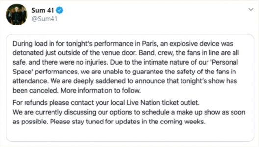 "Sum 41 cancel Paris show after fearing ""explosive device"" detonated outside venue"