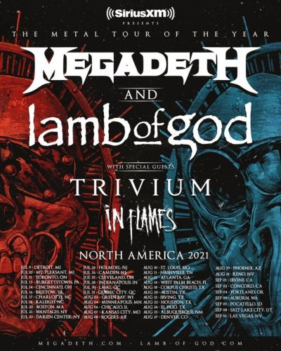 MEGADETH, LAMB OF GOD, TRIVIUM And IN FLAMES Announce 2021 Dates For 'The Metal Tour Of The Year'