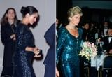 Meghan Markle's Sequined Gown Bears a Stunning Resemblance to a Gown Princess Diana Wore
